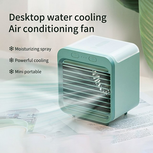 Mini Air Cooler Fan USB Water-cooled Air Conditioner Portable Desktop Evaporative Humififier Purifier for Summer Home Office