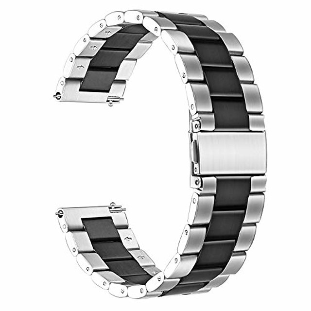 smartwatch band bracelet compatible with amazfit gtr, classic stainless steel smartwatch band for amazfit gtr 47mm smartwatch (47mm case, silver-black)
