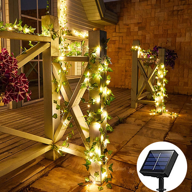 Outdoor Solar String Light Waterproof  2M 20LEDs Ivy Leaf Fairy String Lights Christmas New Year Birthday Party Garden Home Yard Patio Decoration IP65 Waterproof Garden Light