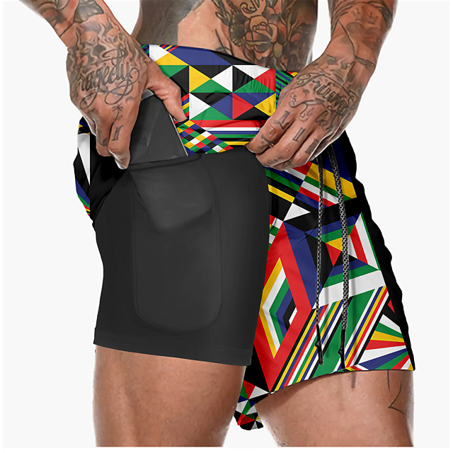 21Grams Men's Running Shorts Athletic Shorts Bottoms 2 in 1 Split Side Pockets Summer Fitness Gym Workout Running Training Exercise Quick Dry Breathable Soft Sport 3D Rainbow / Micro-elastic
