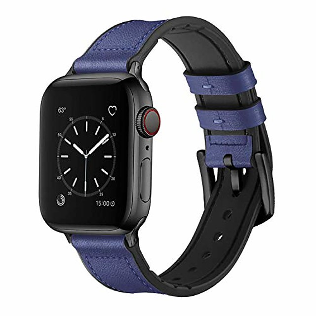 smartwatch band bracelets compatible with apple watch 38mm 40mm, 42mm 44mm, sweatproof hybrid strap made of real leather and rubber, compatible with iwatch series 6/se/5/4/3/2/1