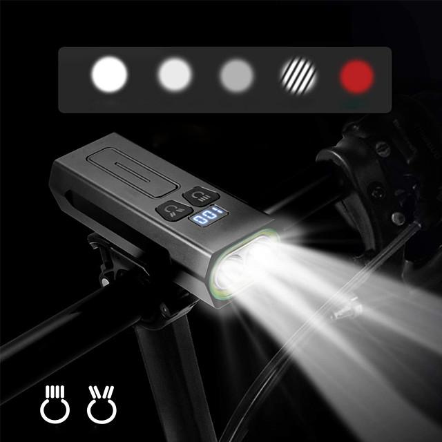 LED اضواء الدراجة ضوء الدراجة الأمامي LED الدراجة ركوب الدراجة ضد الماء قابل للتدوير سطوع رائع USB شحن الإخراج 18650 1800 lm بطارية قابلة لإعادة الشحن أبيض المزدوج مصدر الضوء اللون / دوران360ْ