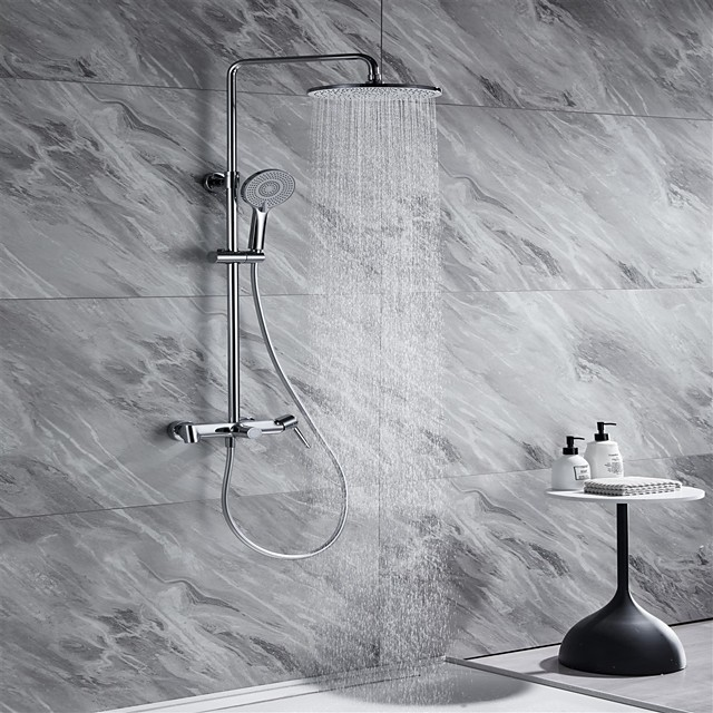 Shower System Set - Handshower Included Contemporary Chrome / Electroplated / Painted Finishes Mount Outside Ceramic Valve Bath Shower Mixer Taps