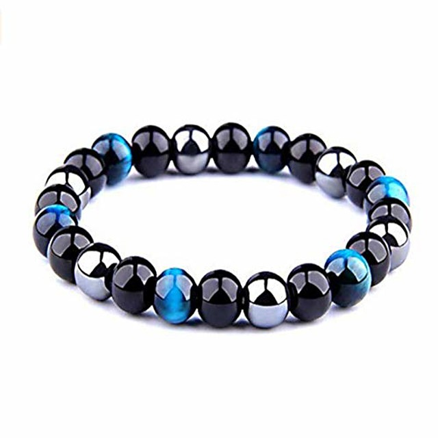 armony protection bracelet, new french brand, natural stone, 10 mm bead, triple protection tiger's eye blue or pink obsidian black and haematite ★ velvet pouch provided ★ bright blue