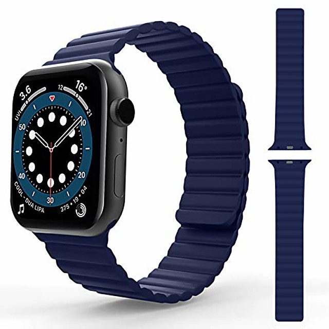 smartwatch band  compatible with apple watch bracelet 44mm 42mm 40mm 38mm, men women adjustable sports silicone magnetic clasp replacement bracelet for iwatch series se / 6/5/4/3/2/1