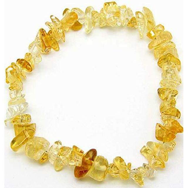 pažnja dragulji prirodno ljekovito kamenje kristalni čips narukvica za žene - premium kristali čakre narukvica od zrna - rastezljivi dragulji (citrin)