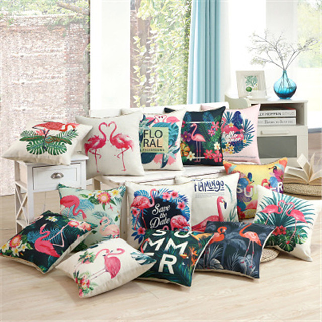 Double Side Cushion Cover 1PC Linen Soft Decorative Square Throw Pillow Cover Cushion Case Pillowcase for Sofa Bedroom Superior Quality Machine Washable Flamingo
