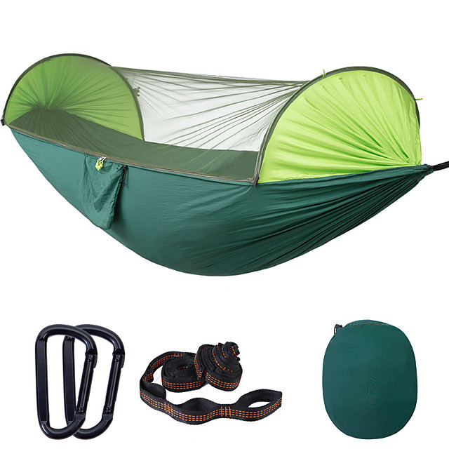 Camping Hammock with Pop Up Mosquito Net Outdoor Portable Anti-Mosquito Ultra Light (UL) Foldable Breathable Parachute Nylon with Carabiners and Tree Straps for 2 person Camping / Hiking Hunting