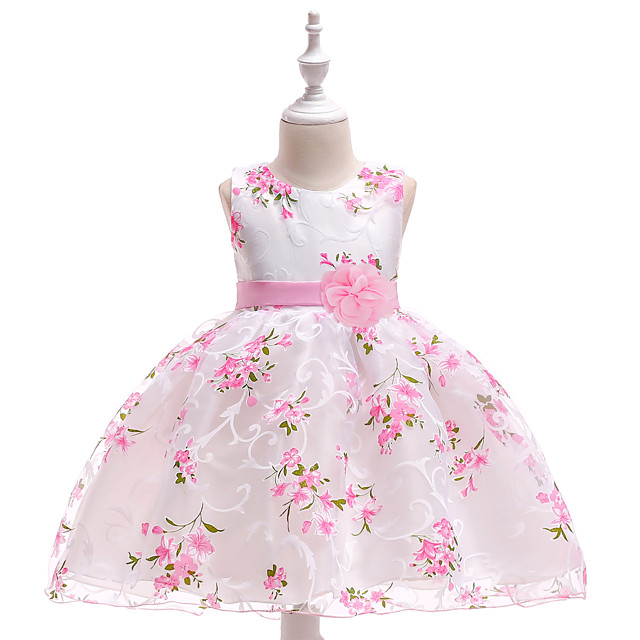 Kids Little Girls' Dress Floral  Party Print Princess Tulle Dress FlowerPegeant Layered Floral Bow White Pink Lace Tulle Cotton Sleeveless Fashion Vintage Dresses 2-10 Years
