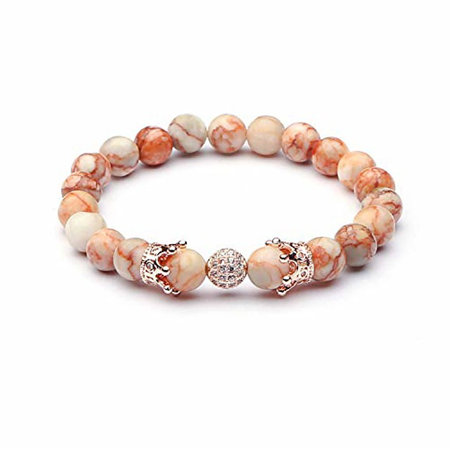richladys 8mm bracelet for women and men red mesh natural stone copper inlay zircon crown beads bracelet energy buddha beads stone crystal bracelet for women