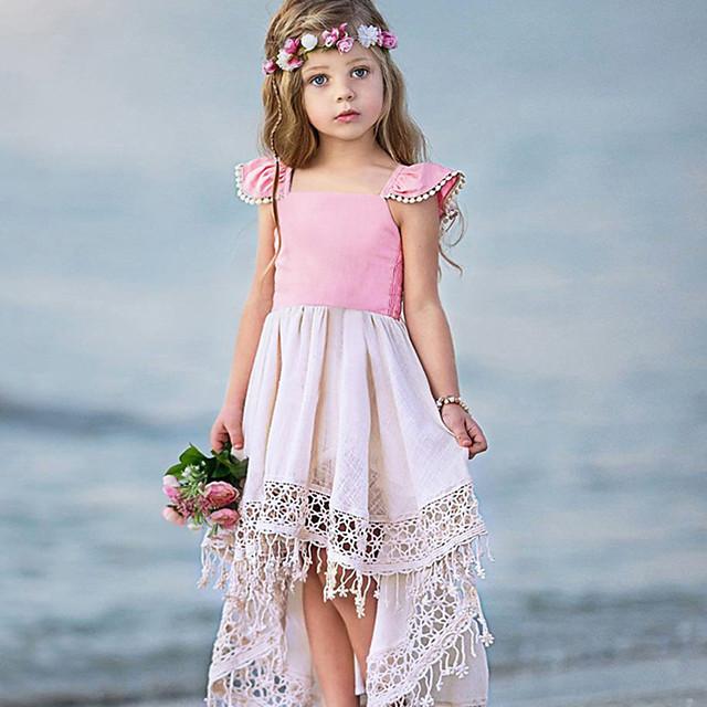 Kids Little Girls' Dress Casual Princess Color Block Tassel Pleated Asymmetric Blushing Pink Vacation Boho Dresses Summer