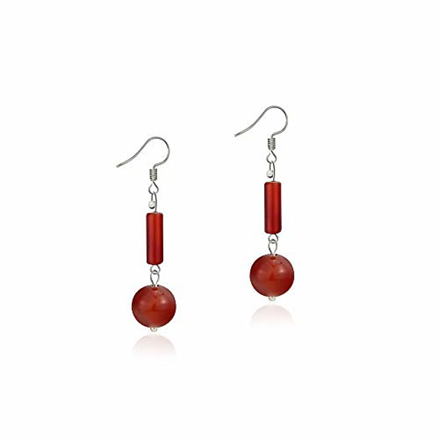 natural gem 925 sterling silver earrings chalcedony clear crystal agate bead drop stone earrings with hypoallergenic hook red