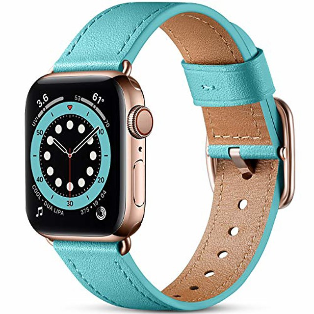 Smart watch band compatible with apple watch strap 40mm 38mm  grain genuine leather strap with stainless steel clasp compatible for apple watch se series 6 se 5 4 3 2 1blue