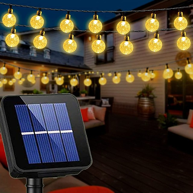 Solar String Lights Outdoor Wedding Decoration 10M Solar Patio Lights 50 LEDs with 8 Modes Waterproof Crystal Ball String Lights for Patio Lawn Party Wedding Garden Patio Decorations
