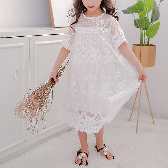 Kids Little Girls' Dress Jacquard Tulle Dress Wedding Birthday Party White Knee-length Short Sleeve Sweet Dresses Summer