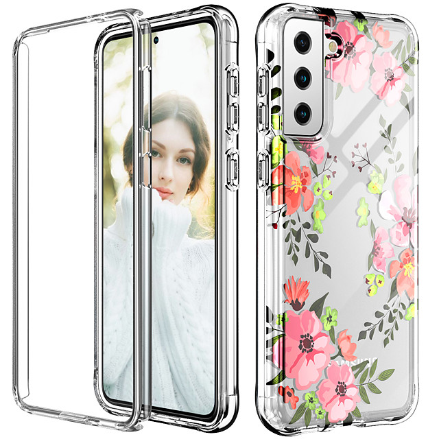 Bumper Phone Case For Samsung Galaxy S21 Plus S21 Ultra  Note 20 Ultra Note 10 Plus S10 Plus Flower Graphic Shockproof Dustproof TPU Transparent Back Cover