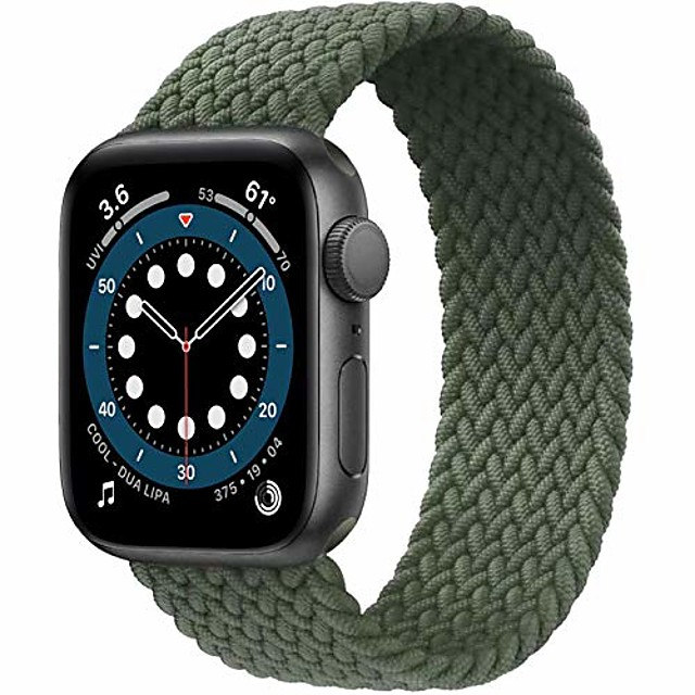 Apple saat kayışı ile uyumlu smartwatch bant örgülü solo döngü, iwatch serisi 6/5/4/3/2/1 için elastik naylon spor yedek kayış, se, yeşil, 12