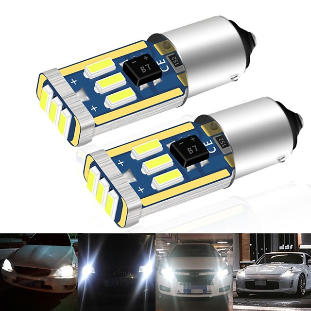 10pcs Car Led BA9S CANBUS T4W H6W LED 4014 15LED Side Wedge Light Interior Signal Lamp ars Roof lights Mirror Plaste lights 12V