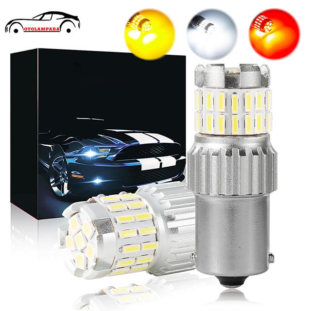 OTOLAMPARA 2pcs High Bright Lightness 21W Car 1156 LED Stop Brake Light CAN-bus LED 1157 Bulb BAU15S Turn Signal Light Function White Amber Red Colors Optional