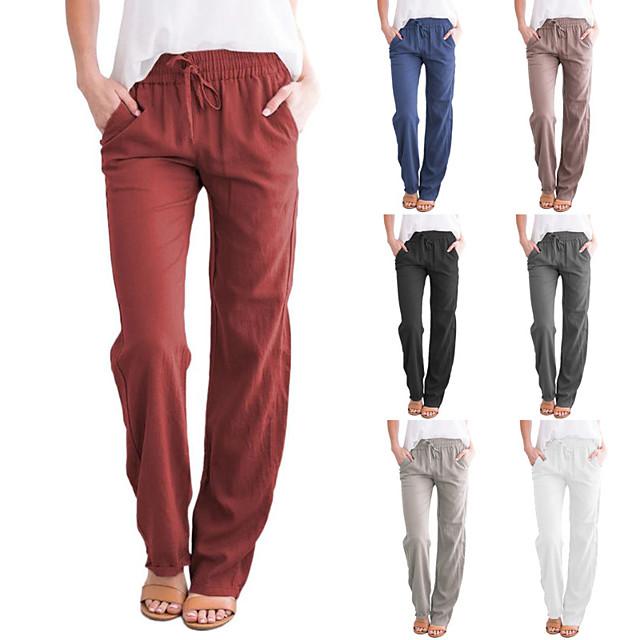 primavera y verano de las mujeres transfronterizas nuevos productos europa y estados unidos amazon ebay algodón y lino de color puro con cordones pantalones anchos casuales sueltos