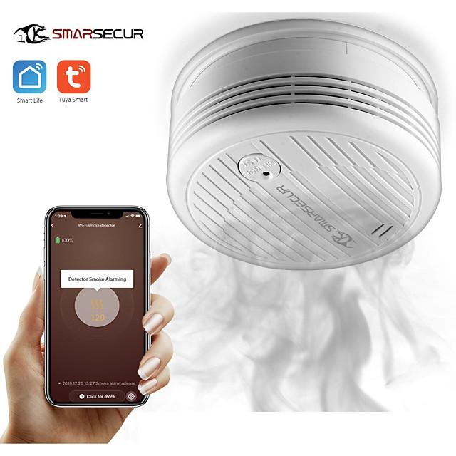 SMARSECUR Wifi Smoke Detector Smoke Sensor Highly Sensitive For smart Life app control Power by Tuya