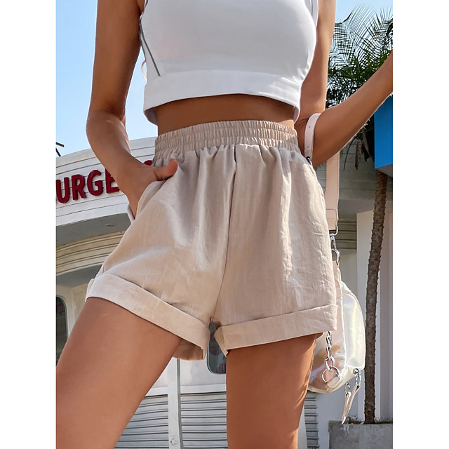 LITB Basic  Women's Hemming Shorts Solid Color Bottom High Waist