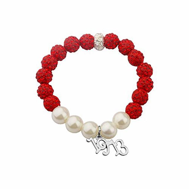 cenwa 1913 sorority jewelry delta gift dst jewelry greek sorority gift(red pearl beads -br)