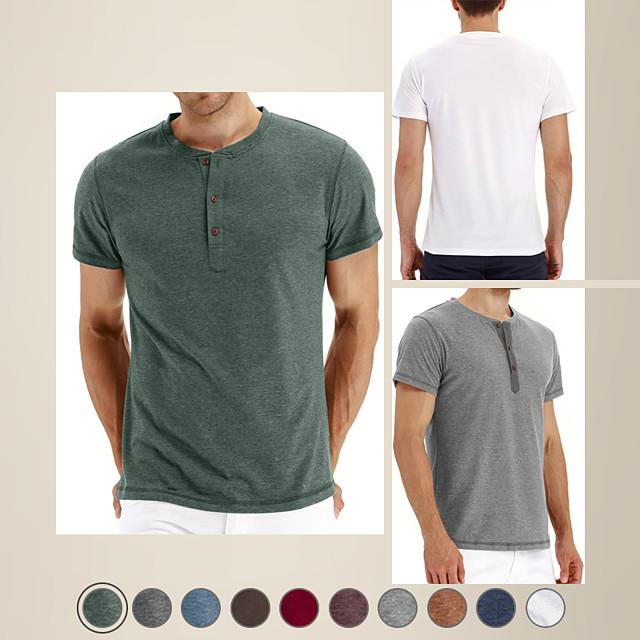 Camisa henley de hombre color sólido manga corta tops diarios moda simple cómodo cuello redondo café