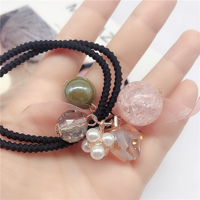 Kids Baby Girls' Version Of Ins Net Red Hair Ring Cute Head Rope Bracelet Dual-Use Super Fairy Girl Hair Rope Round Bead Pearl Rubber Band