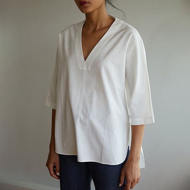 LITB Basic Women's 3/4 Length Sleeve T-Shirt V Neck Top Solid Color Basic Simple Wear
