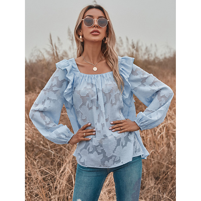 LITB Basic  Women's Tansparent Ruffle Sleeve Shirt Solid Color Top Hollow Out Outwear