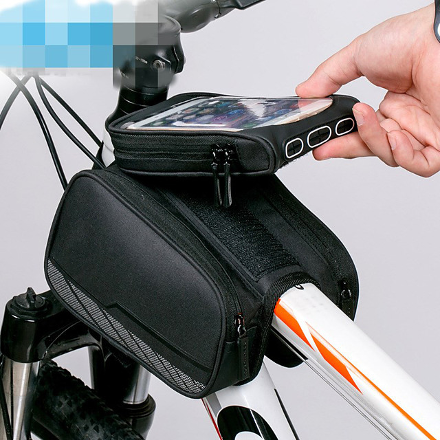 ROCKBROS Cell Phone Bag Bike Frame Bag Top Tube 6 inch Reflective Logo Rainproof Cycling for iPhone X iPhone XR iPhone XS Black Mountain Bike MTB Bike / Cycling / iPhone XS Max