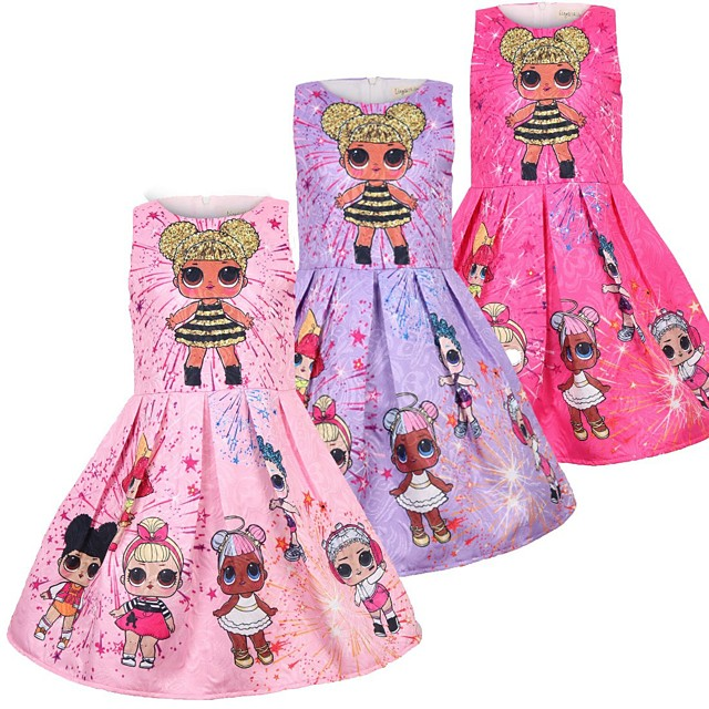 Baby Kinder Wenig Mädchen Kleid Karikatur Grafik-Drucke Tank-Top Kleid Normal Rosa Purpur Rosenrot Ärmellos Prinzessin nette Art Süß Kleider Sommer