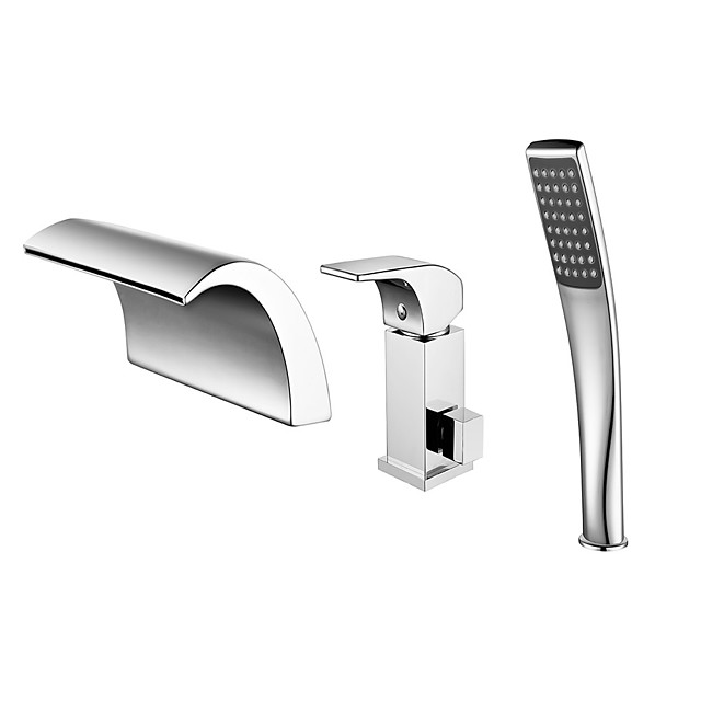 Ammehana - Nykyaikainen Kromi Roomalainen kylpyamme Keraaminen venttiili Bath Shower Mixer Taps