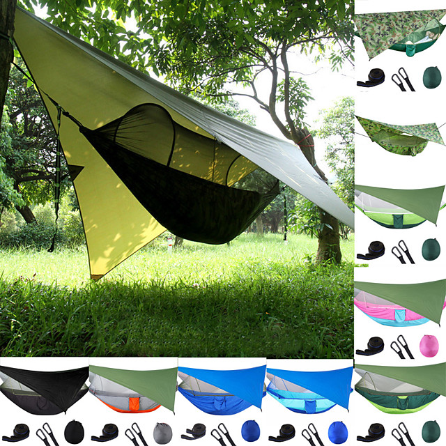 Camping Hammock with Pop Up Mosquito Net Hammock Rain Fly Outdoor Portable Windproof Sunscreen UV Resistant Anti-Mosquito Parachute Nylon with Carabiners and Tree Straps for 2 person Camping / Hiking