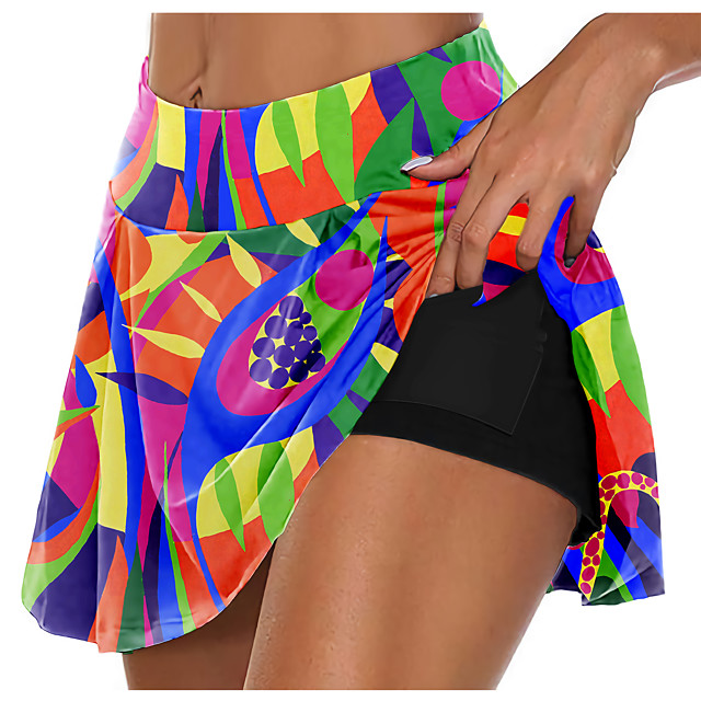 21Grams Women's High Waist Athletic Skort Running Skirt Athletic Shorts Bottoms 2 in 1 Side Pockets Summer Fitness Gym Workout Running Training Exercise Quick Dry Moisture Wicking Breathable Normal