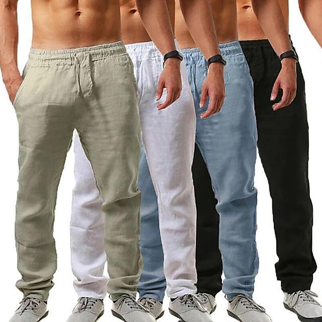 men's linen pants casual long pants - loose lightweight drawstring yoga beach trousers casual trousers - 6 colors blue