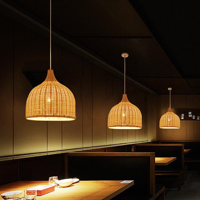 1-Light 30 cm Designers Pendant Light Metal Wood / Bamboo Chrome Chic & Modern 110-120V / 220-240V