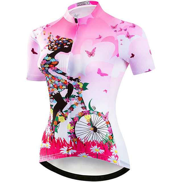 21Grams Women's Short Sleeve Cycling Jersey Summer Elastane Polyester Purple Yellow Blue Floral Botanical Bike Jersey Top Mountain Bike MTB Road Bike Cycling Quick Dry Moisture Wicking Breathable