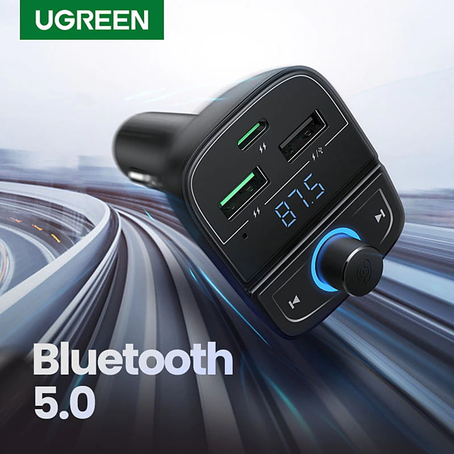 UGREEN Quick Charge 4.0 Car Charger for Phone FM Transmitter Bluetooth Car Kit Audio MP3 Player Fast Dual USB Car Phone Charger