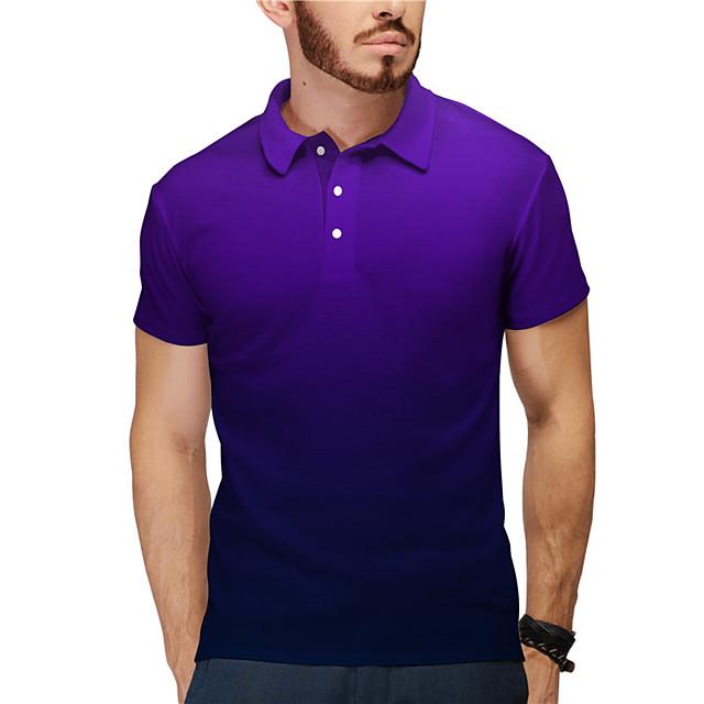 Men's Golf Shirt Tennis Shirt 3D Print Gradient Button-Down Short Sleeve Casual Tops Casual Fashion Breathable Purple / Sports