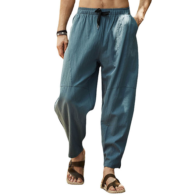 Men's Yoga Pants Drawstring Patchwork Pants Bottoms Quick Dry Lightweight Gray Green Dark Navy Yoga Gym Workout Workout Winter Summer Sports Activewear Micro-elastic Loose / Casual / Athleisure