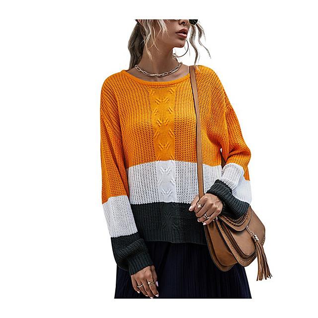 LITB Basic Women's Color Block Drop Shoulder Sweater Long Sleeves Tops Round Neck