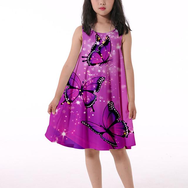 Παιδιά Λίγο Κοριτσίστικα Φόρεμα Πεταλούδα Γραφική Ζώο Αμάνικο φόρεμα Causal Στάμπα Γαρίδες Ροζ Γραβάτα μωβ Βυσσινί Ως το Γόνατο Αμάνικο 3D Στάμπα χαριτωμένο στυλ Φορέματα Καλοκαίρι Φαρδιά 3-10 χρόνια