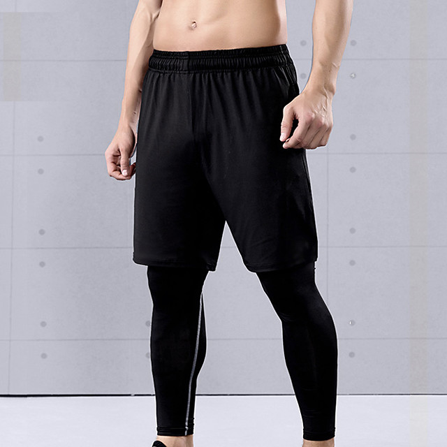 Men's Running Shorts Athletic Shorts Bottoms Summer Fitness Running Jogging Training Quick Dry Moisture Wicking Breathable Sport Solid Colored Black / Micro-elastic
