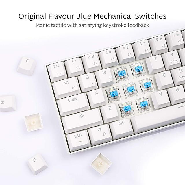 Royal kludge rk61 механическая bluetooth 3.0 проводная / двухрежимная беспроводная 61 клавиша многофункциональная светодиодная игровая / офисная клавиатура с подсветкой для ios, android, windows