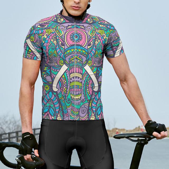 21Grams สำหรับผู้ชาย แขนสั้น เสื้อปั่นจักรยาน ฤดูร้อน สแปนเด็กซ์ เส้นใยสังเคราะห์ สีม่วง ลายโค้ง จักรยาน เสื้อยืด Tops ขี่จักรยานปีนเขา จักรยานเสือหมอบ แห้งเร็ว การดูดความชื้น ระบายอากาศ กีฬา