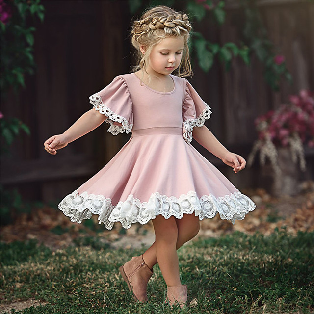 Kid's Little Girls' Dress Causal Floral Lace Solid Color Party School Purple Blushing Pink Green Short Sleeve Cute Sweet Dresses Summer 2-12 Years