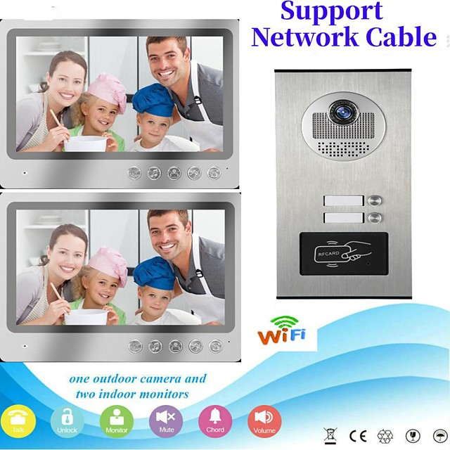 Multi Apartment Connect Two Indoor Monitors 9inch Large Screen Video Door Phone with 2 Way Intercom System Support Remote Control