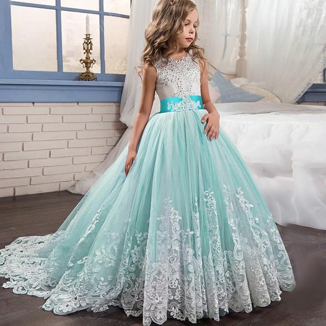 dječja djevojačka haljina čipka cvjetna princeza zabava svečane večernje vjenčanje svezani luk luk bijela ljubičasta crvena tila maksi bez rukava elegantne vintage haljine haljina stane 4-13 godina
